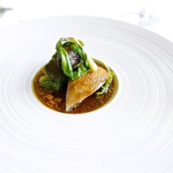 """Diamond H Ranch quail with hearts of romaine lettuce, smoked sunchokes, caramelized ramps and charred shishito pepper vinaigrette from Per Se by <a href=""""http://www.flickr.com/photos/gourmetgourmand/8672381889/in/pool-eater"""">gourmetgourmand</a>"""