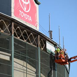 10:37 a.m. Work taking place in front of the ballpark, where the framework is being exposed along the top -