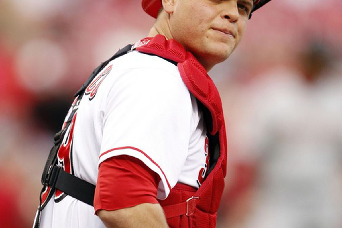 Apr 27, 2012; Cincinnati, OH, USA; Cincinnati Reds catcher Devin Mesoraco (39) catches during the first inning against the Houston Astros at Great American Ballpark. Mandatory Credit: Frank Victores-US PRESSWIRE