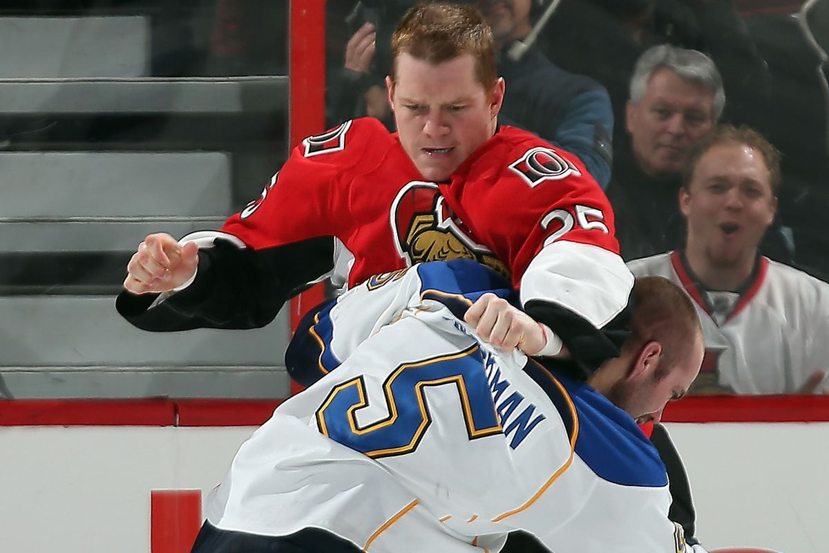 Chris Neil is pretty good at beating up on people smaller than him.