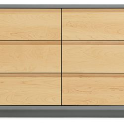 Mason 70w 30h 6-drawer dresser in grey with maple. Was $1399; Now $1099.99