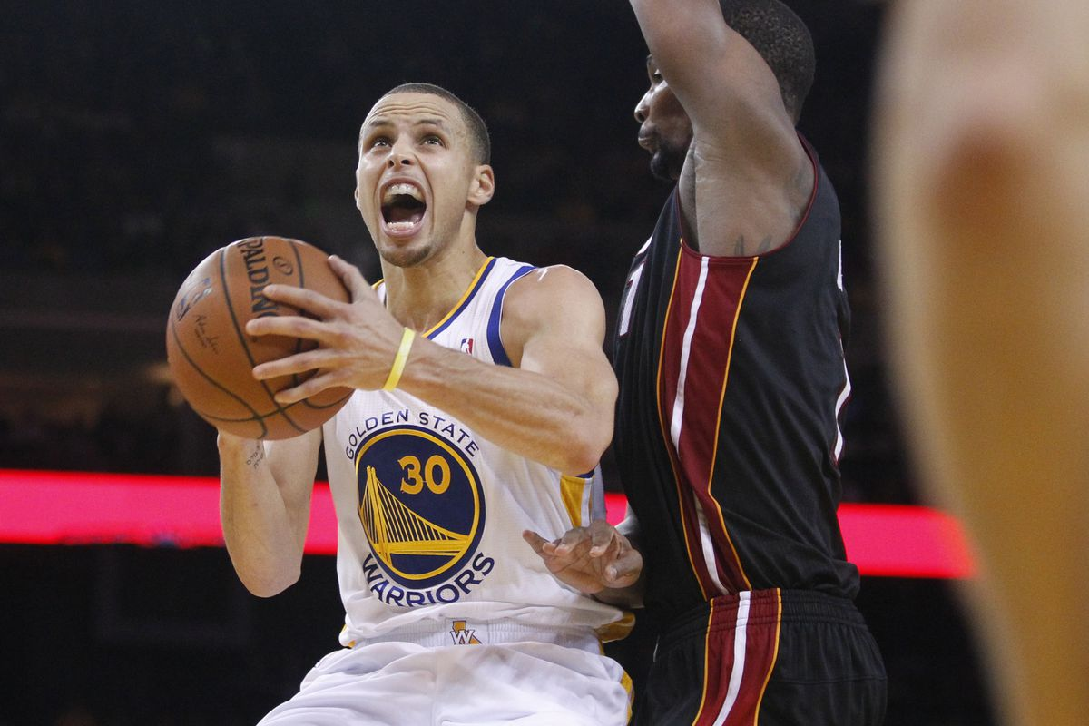 Stephen Curry leads the Warriors to face Chris Bosh and the Miami Heat.
