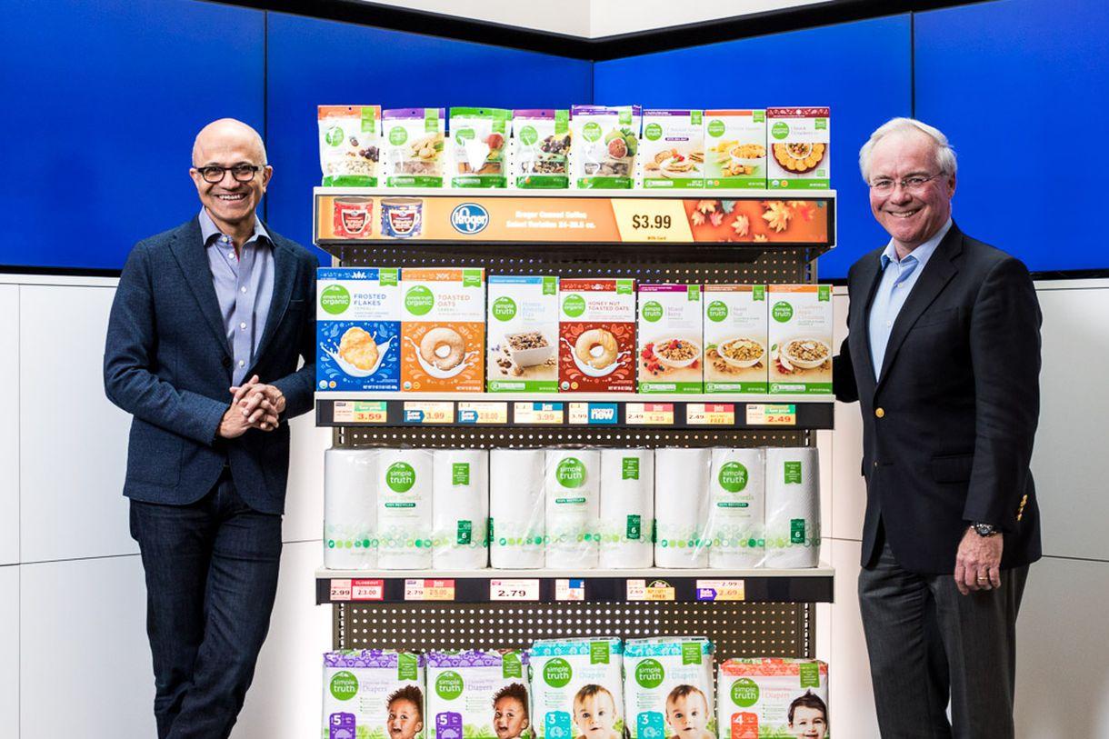 Microsoft CEO Satya Nadella (left) and Kroger CEO Rodney McMullen.