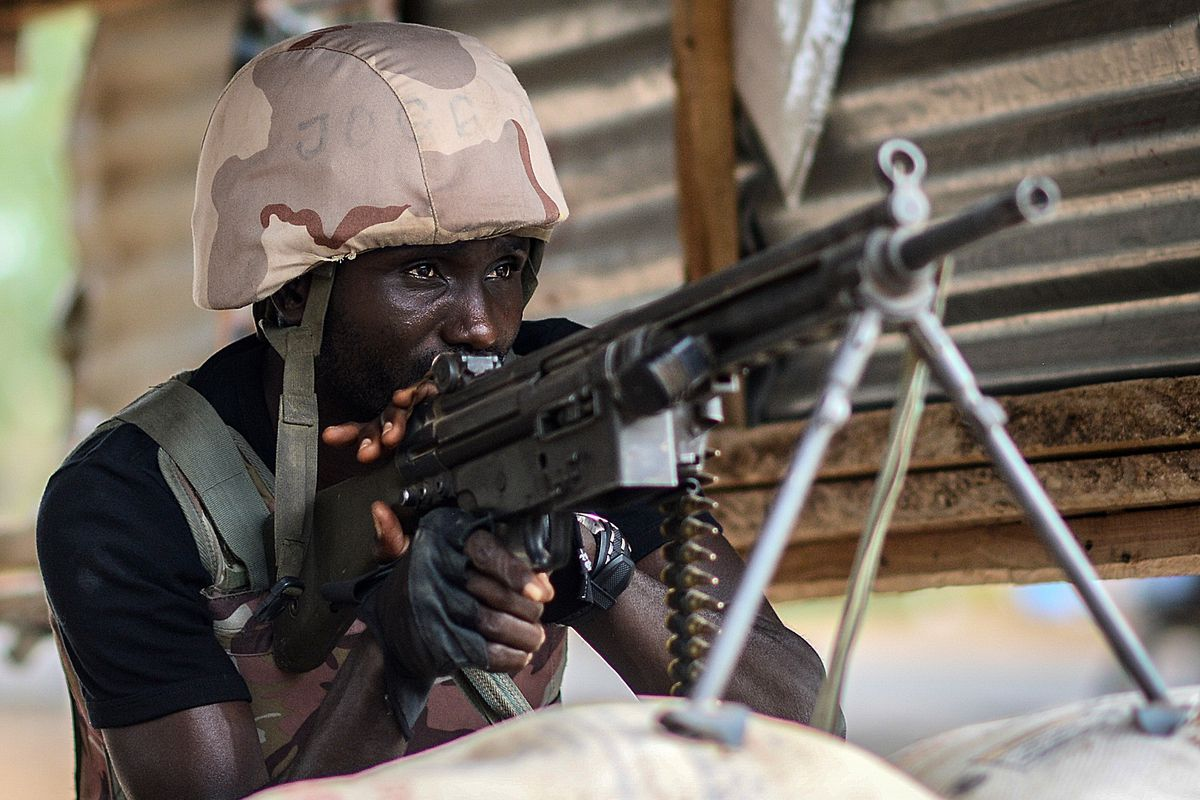 A Nigerian soldier standing guard.