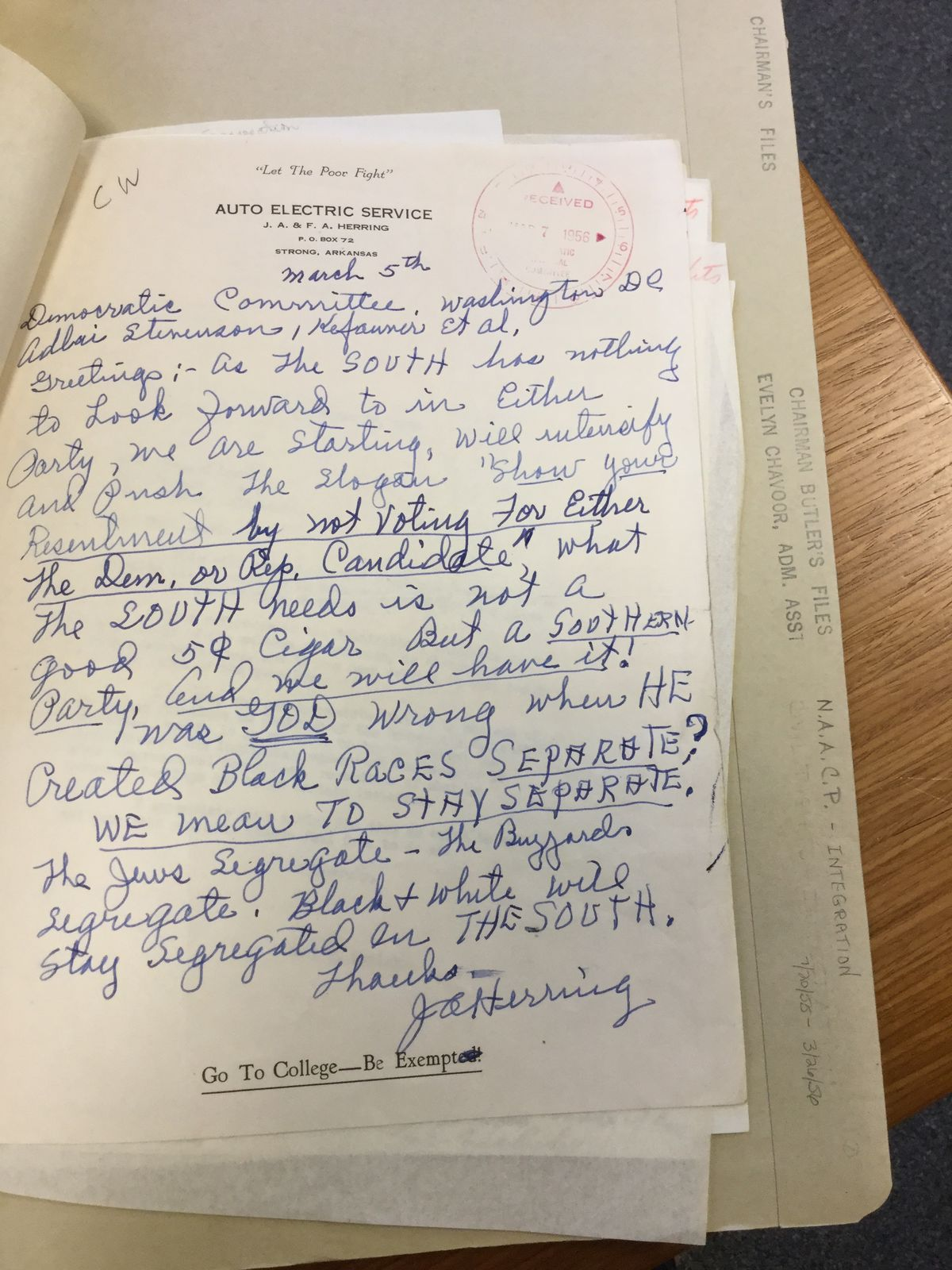 Letter to Paul Butler, 1955