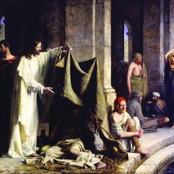 """""""Christ  Healing the Sick at Bethesda,"""" painted in 1883, was acquired by BYU in 2001."""