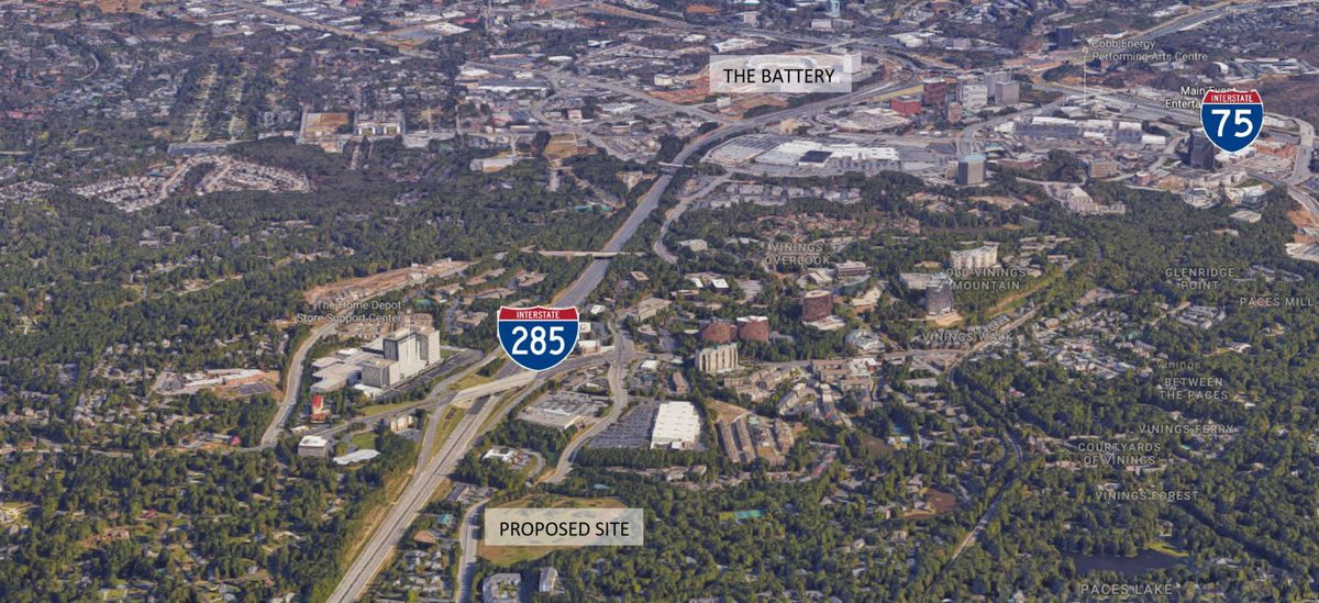 An aerial view shows the relationship of the Battery and the proposed site, just off of Interstate 285.