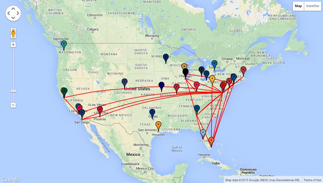 Nats Travel Map 2015
