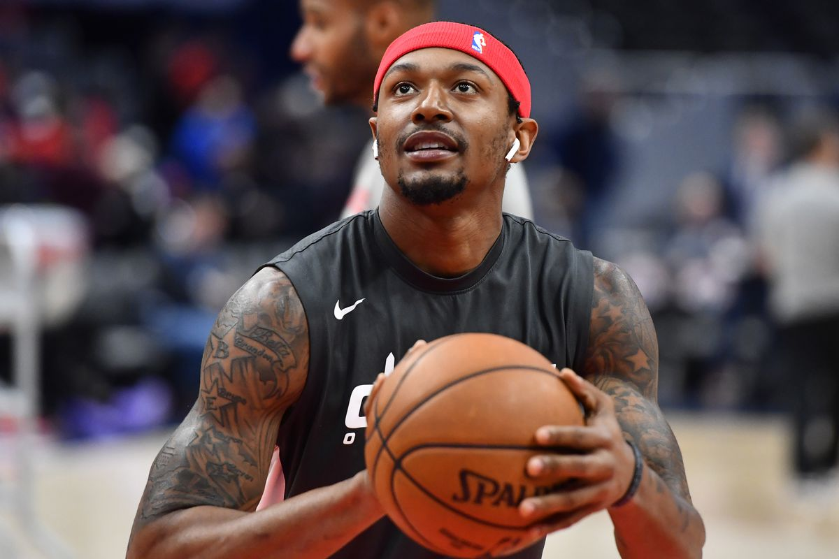 Washington Wizards guard Bradley Beal warms up before the game between the Washington Wizards and the Atlanta Hawks at Capital One Arena.
