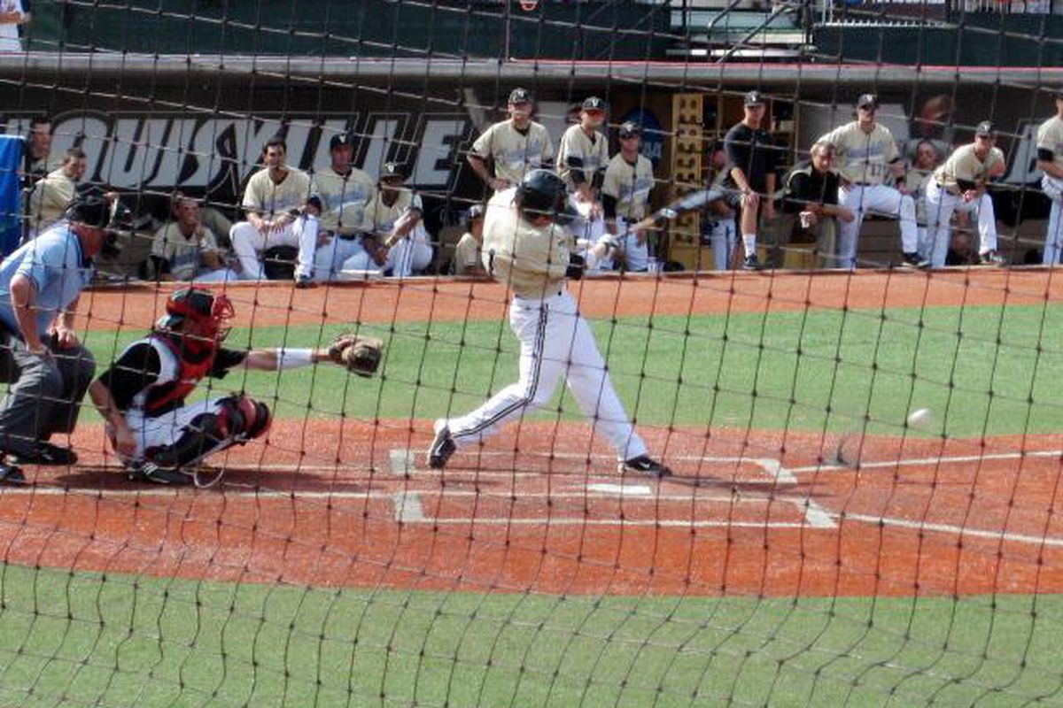 Bryan Johns grounds out in the fifth inning. Ground ball outs became a recurring theme for the Commodores Saturday.