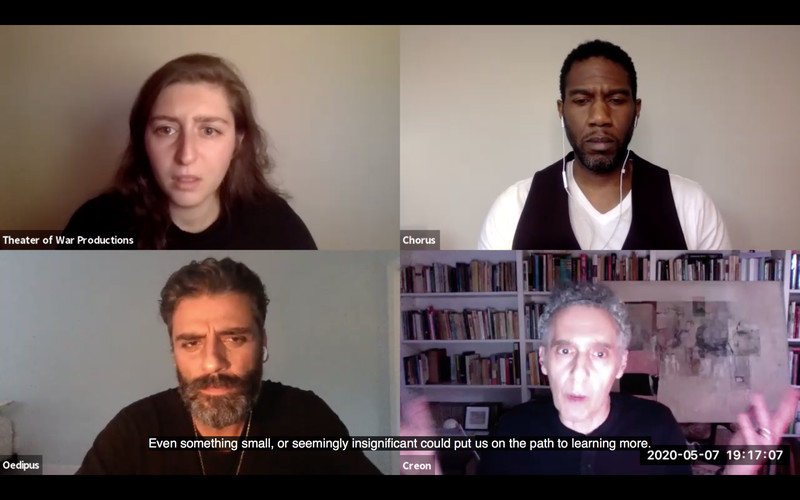 """A zoom screen with four actors and text from Oedipus across the bottom that reads """"Even something small, or seemingly insignificant could put us on the path to learning more."""""""