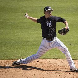 New York Yankees' Brady Lail pitches during a spring training baseball game against the Toronto Blue JaysSunday, Feb. 26, 2017, in Tampa, Fla. (AP Photo/Matt Rourke)