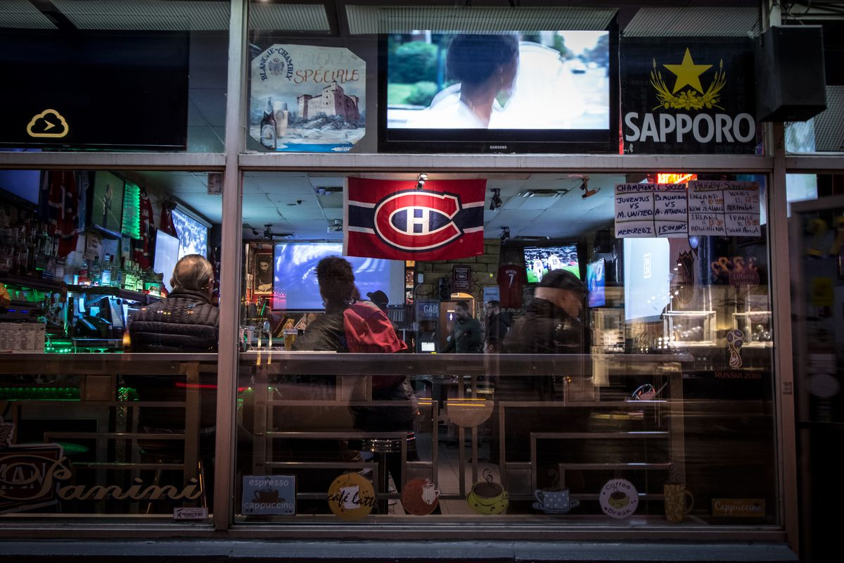 Outside window of a bar in Montreal