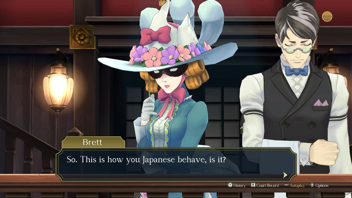 """Jezaille Brett, an Englishwoman in The Great Ace Attorney Chronicles, accosts Ryunosuke in the courtroom: """"So, this is how you Japanese behave, is it?"""""""