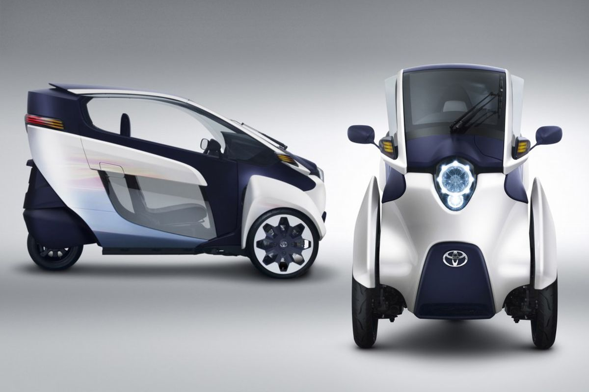 The Toyota i-road, a single-occupant urban electric vehicle concept.