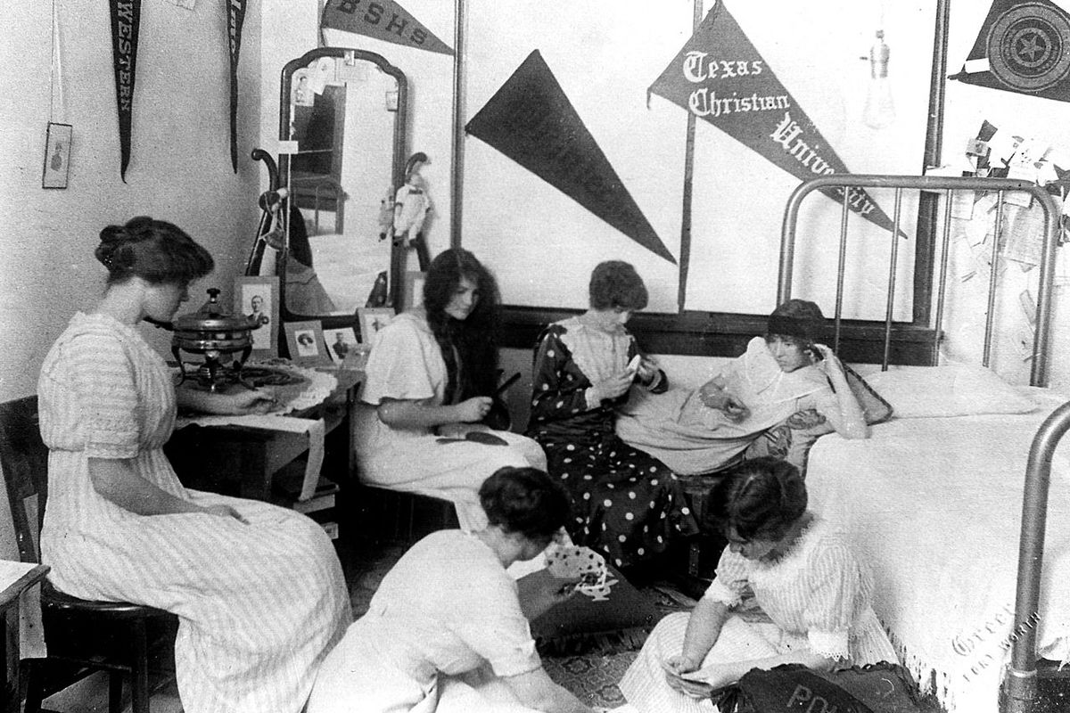 College students at Texas Christian University (rated as a third class school) in 1910.