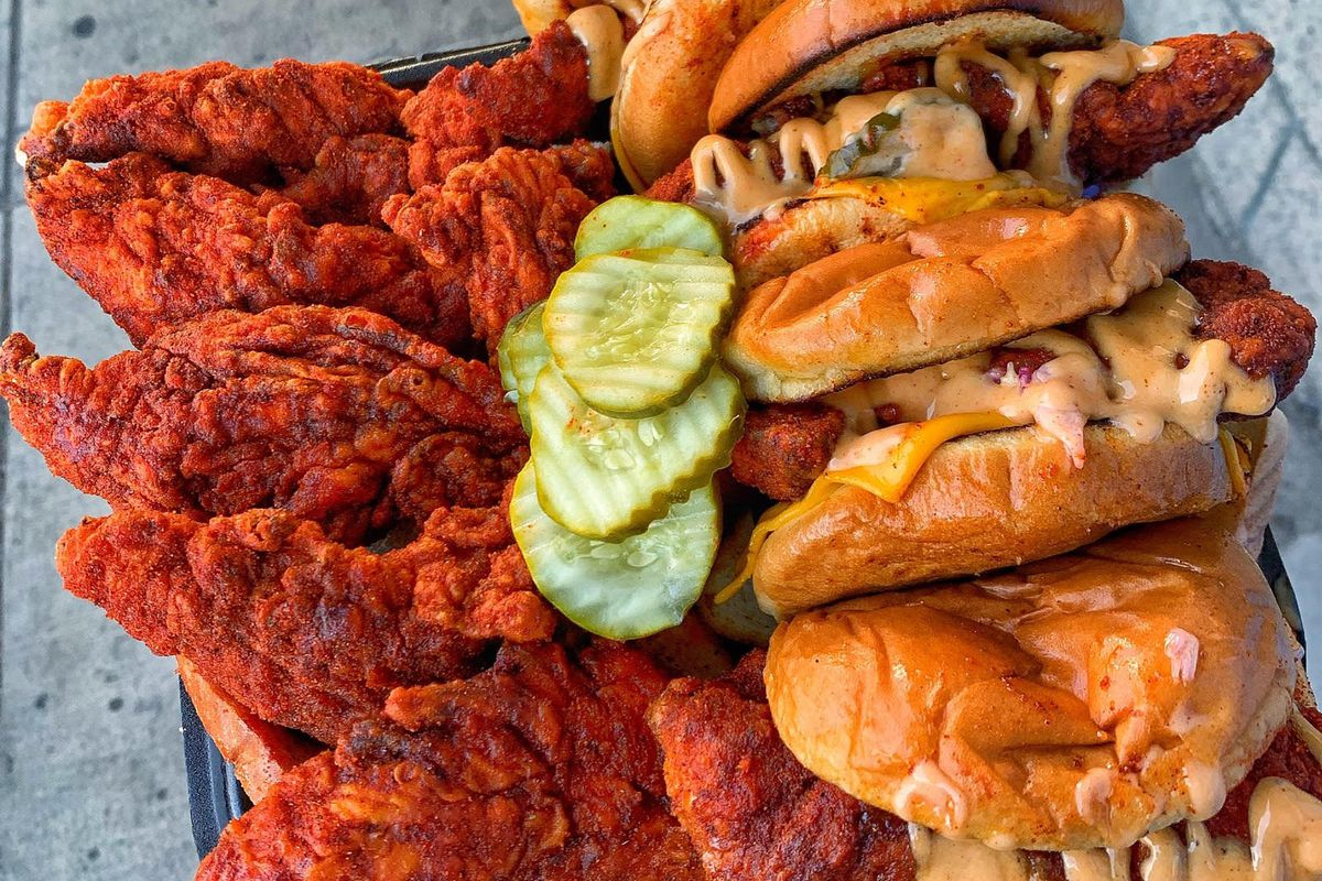 Closeup of Dave's Hot Chicken tenders and sliders
