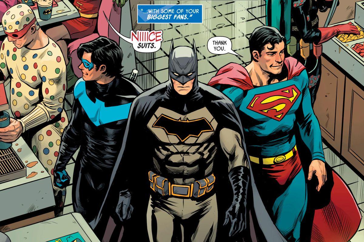 Nightwing, Batman and Superman at a Bat Burger franchise in Batman: Prelude to the Wedding: Nightwing vs. Hush, DC Comics (2018).
