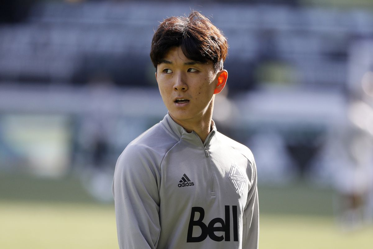 Hwang In-Beom of the Vancouver Whitecaps looks on prior to the game against the Minnesota United FC at Providence Park on February 22, 2020 in Portland, Oregon.