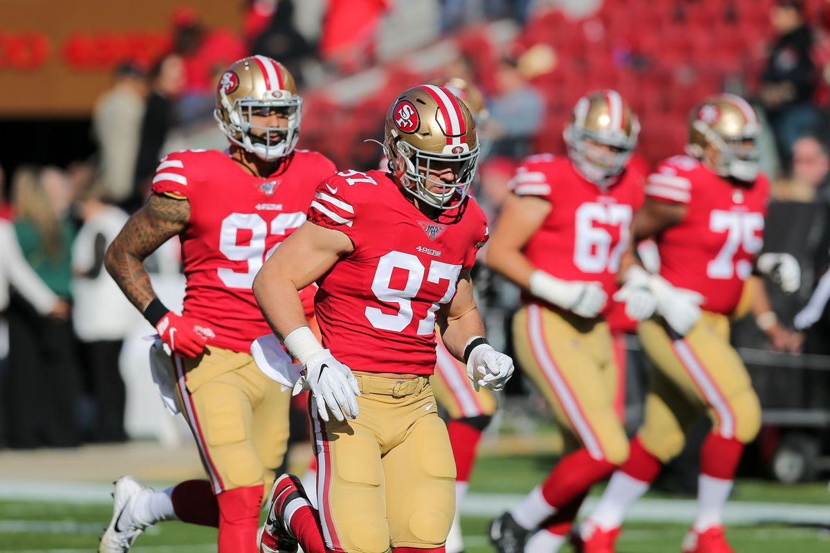 San Francisco 49ers defensive end Nick Bosa before the game against the Atlanta Falcons at Levi s Stadium.
