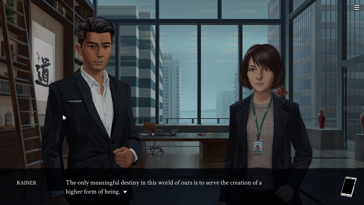 """Eliza - Rainer, a handsome man in a suit, stands in a room with Evelyn, a woman in business attire. The on-screen text says: """"RAINER: The only meaningful destiny in this world of ours is to serve the creation of a higher form of being."""""""