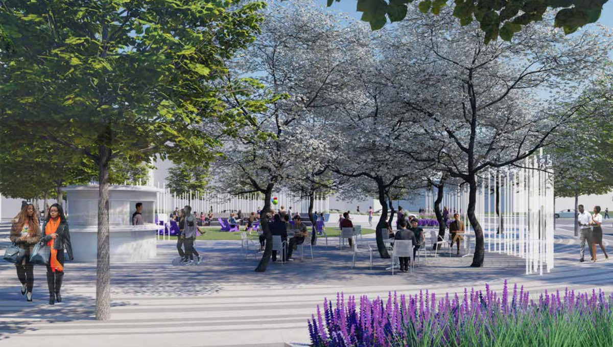 A rendering of renovation plans for Dave Thomas Circle show people mingling in a public courtyard lined with trees and flowers.