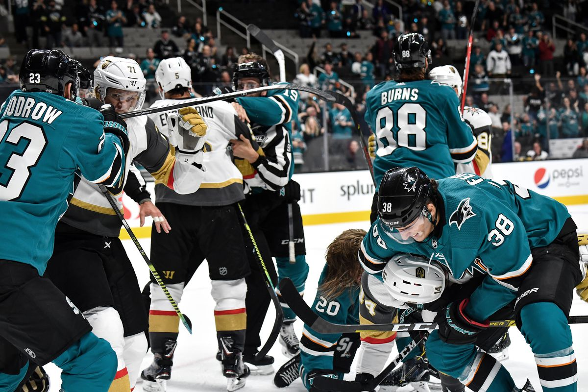 The San Jose Sharks get into a fight with the Vegas Golden Knights at SAP Center on October 4, 2019 in San Jose, California.