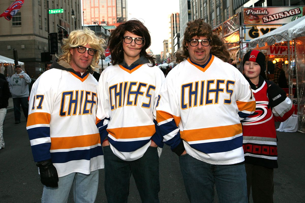 The Hanson Brothers fro the Johnstown Chiefs.