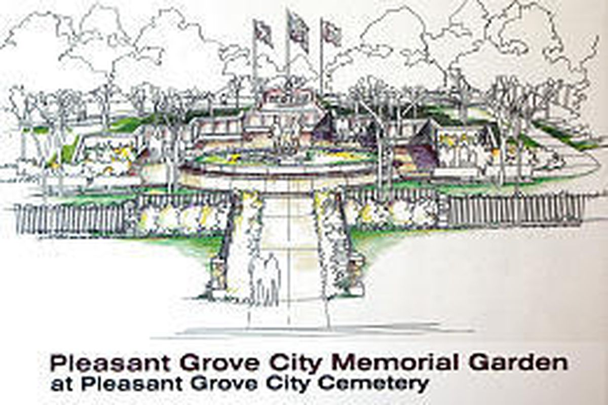 Rendering of the Pleasant Grove Memorial Gardens that is to be built at the Pleasant Grove Cemetery.