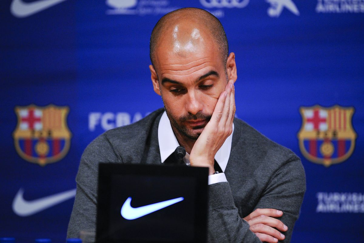 Pep knew his time was up.  (Photo by David Ramos/Getty Images)