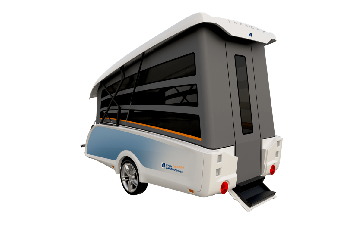 A rear view of the popped-up trailer has a gray door, white roof, and light blue coloring.