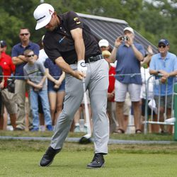 Chez Reavie tees off on the first hole at the 2019 Travelers Championship Third Round at the TPC River Highlands in Cromwell, CT on June 22, 2019.