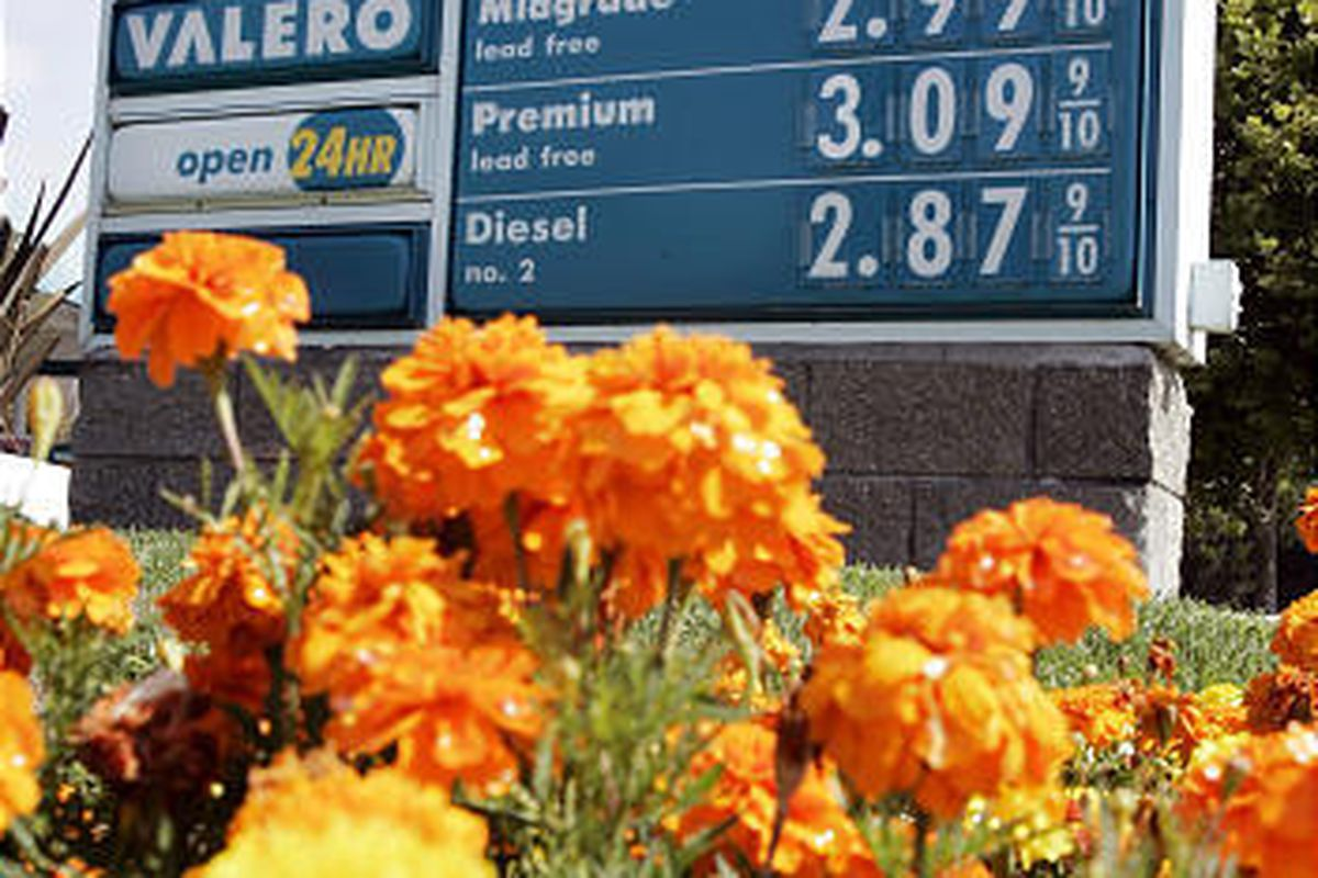 Gas prices at a station in Palo Alto, Calif., and around the country are relatively low.