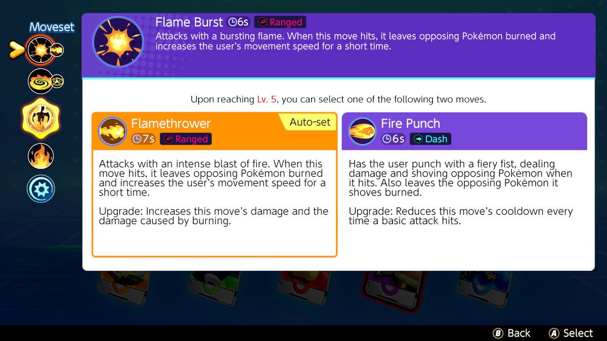 The new skill screen in Pokémon Unite