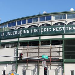 10:37 a.m. Temporary sign above main entrance -