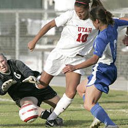 Utah's Adele Letro assists on Utah's second goal of the game in the Utes' MWC tournament win Wednesday in Las Vegas against Air Force.