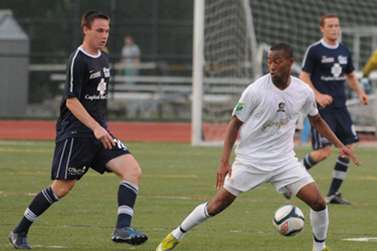 """Reading and Harrisburg met in a recent friendly on May 24th and will meet again in the Lamar Hunt US Open Cup. (Photo by <a href=""""http://griegel.zenfolio.com/"""" target=""""new"""">Glenn Riegel</a>/United Soccer Leagues/Reading United AC)"""