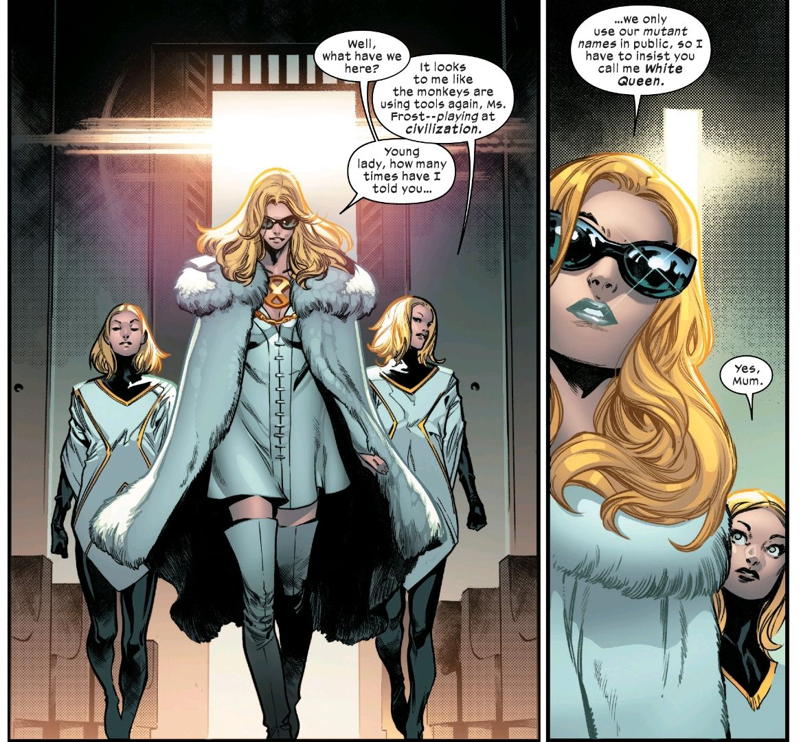 """Emma Frost makes a glamorous entrance at Sabretooth's trial, flanked by two of the Stepford Cukoos. She reminds them to call her """"White Queen"""" and one answers, """"Yes, mum."""" From House of X #3, Marvel Comics (2019)."""