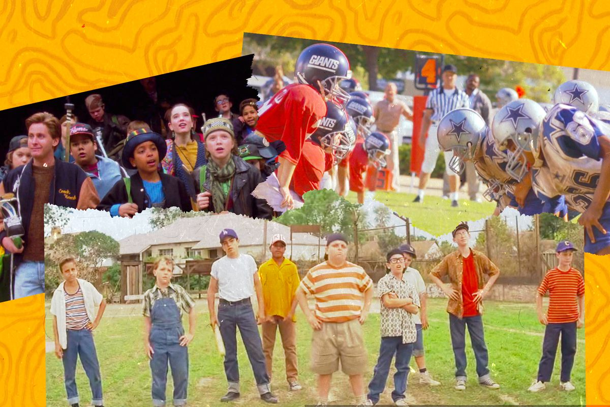 A collage featuring scenes from the 90s movies The Mighty Ducks, Little Giants, and The Sandlot
