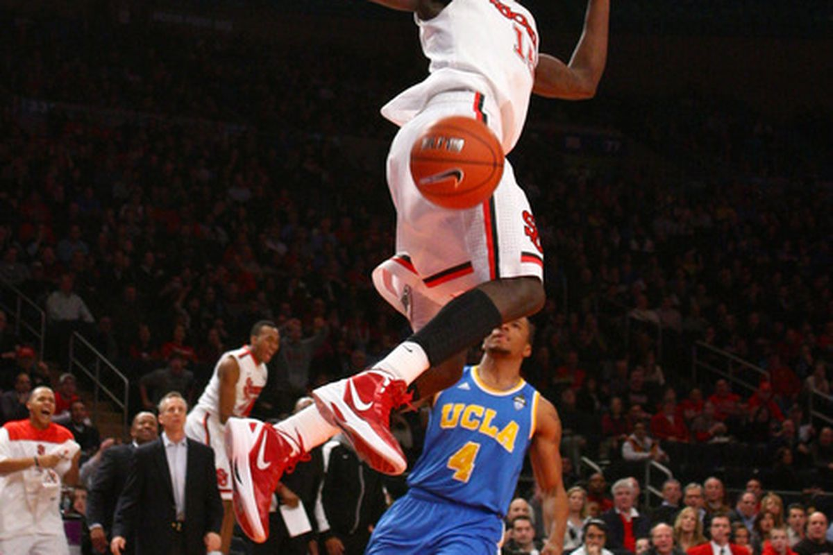 Sir`Dominic Pointer's high-level hops and versatile game sparked the Red Storm in a 66-63 win over the UCLA Bruins.
