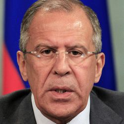 """Russian Foreign Minister Sergey Lavrov speaks during a news conference with Syrian Foreign Minister Walid Moallem, not seen, in Moscow, Tuesday, April 10, 2012. Russia has called on the opposition as well as countries that """"influence them"""" to use their powers to bring about a cease-fire in Syria."""