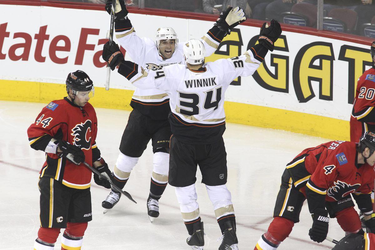 Remember when Winnik couldn't NOT score goals for Anaheim? Photo credit