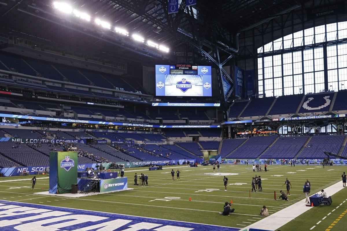 General view of interior of Lucas Oil Stadium for the NFL Combine.
