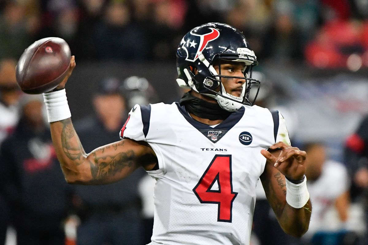 Houston Texans quarterback Deshaun Watson (4) throws a pass during the second half of the game between the Jacksonville Jaguars and the Houston Texans during an NFL International Series game at Wembley Stadium.