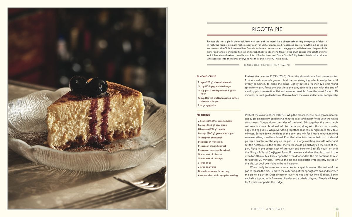 page from cookbook with photo of ricotta pie and recipe