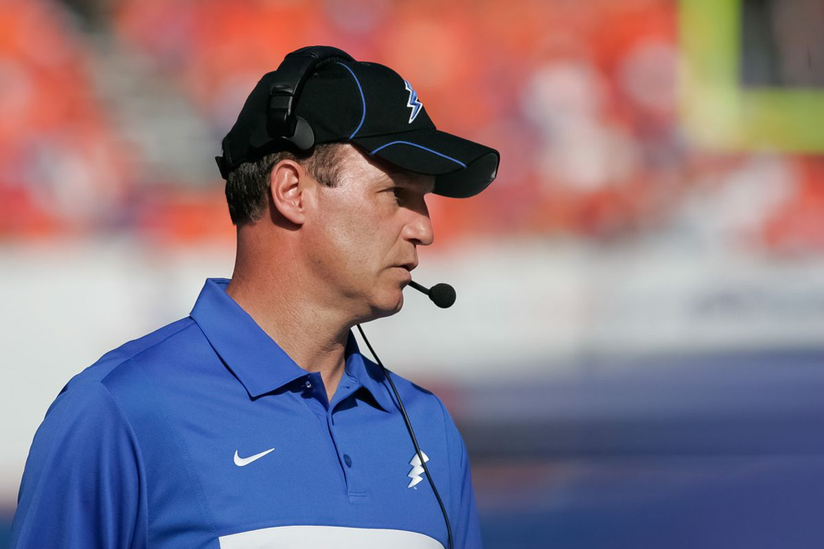 BOISE, ID - OCTOBER 22: Head Coach Troy Calhoun of the Air Force Falcons looks on between plays during the game against the Boise State Broncos at Bronco Stadium on October 22, 2011 in Boise, Idaho.  (Photo by Otto Kitsinger III/Getty Images)