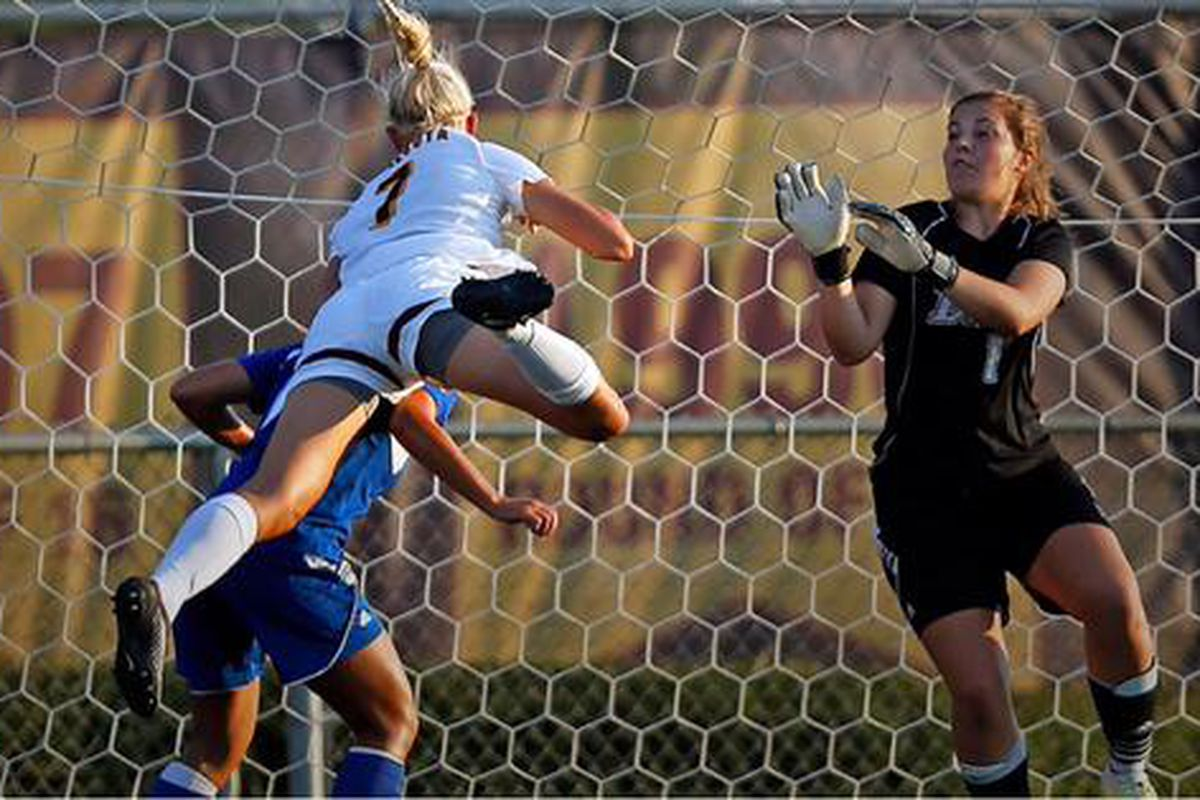Sydney Squires Scores a header vs Drake University on 8/15/2015 in a friendly