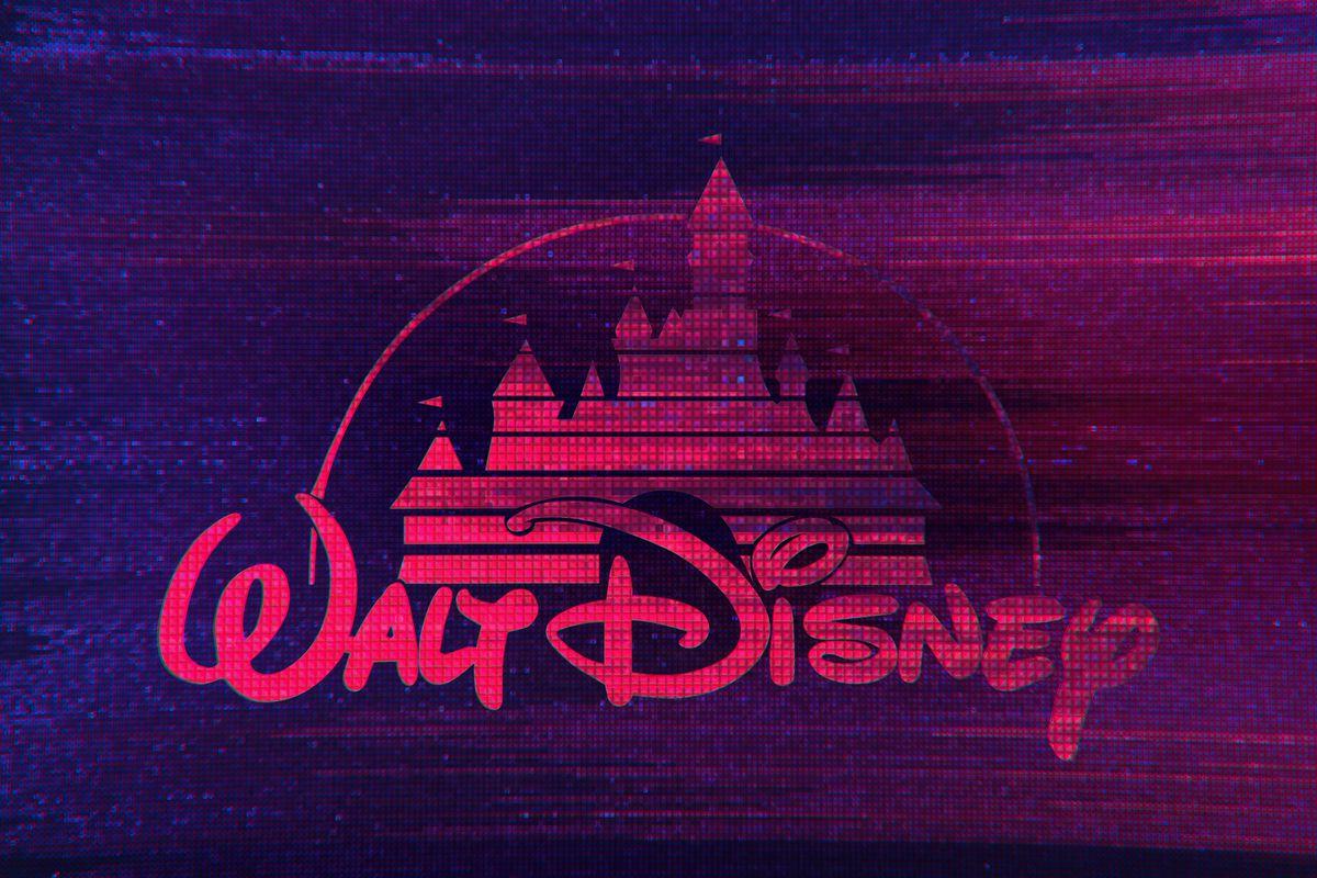 illustration featuring glitchy digital Disney logo