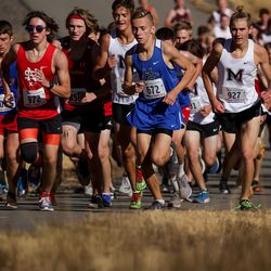 The 3A boys state cross-country championships are held at Soldier Hollow in Midway on Thursday, Oct. 22, 2020.