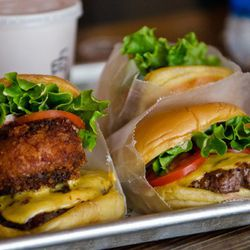 """Portabella burger and Shackburger from Shake Shack Times Square by <a href=""""http://www.flickr.com/photos/kayone73/5859241452/in/pool-eater/"""">KayOne73</a>."""